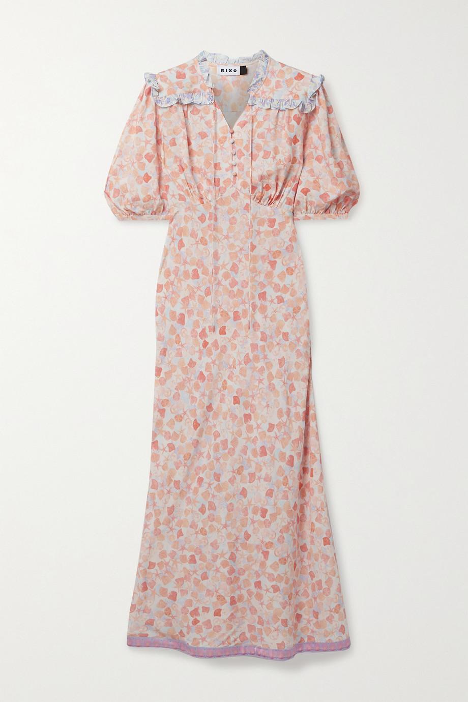 RIXO Gwen silk-trimmed printed crepe midi dress
