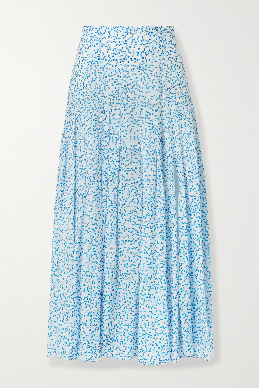 RIXO Claire printed cotton and silk-blend midi skirt