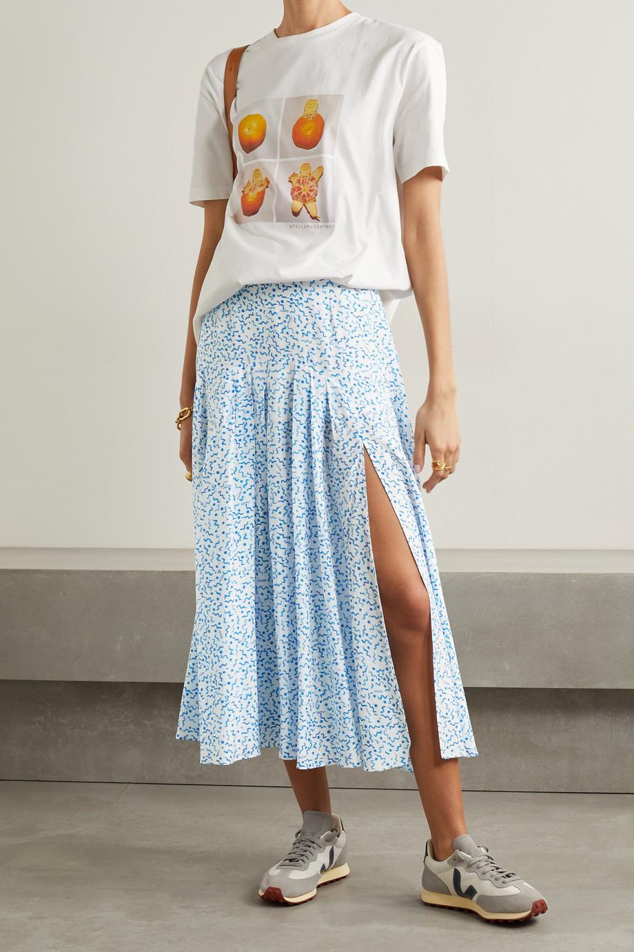 RIXO Claire Midirock aus einer bedruckten Baumwoll-Seidenmischung