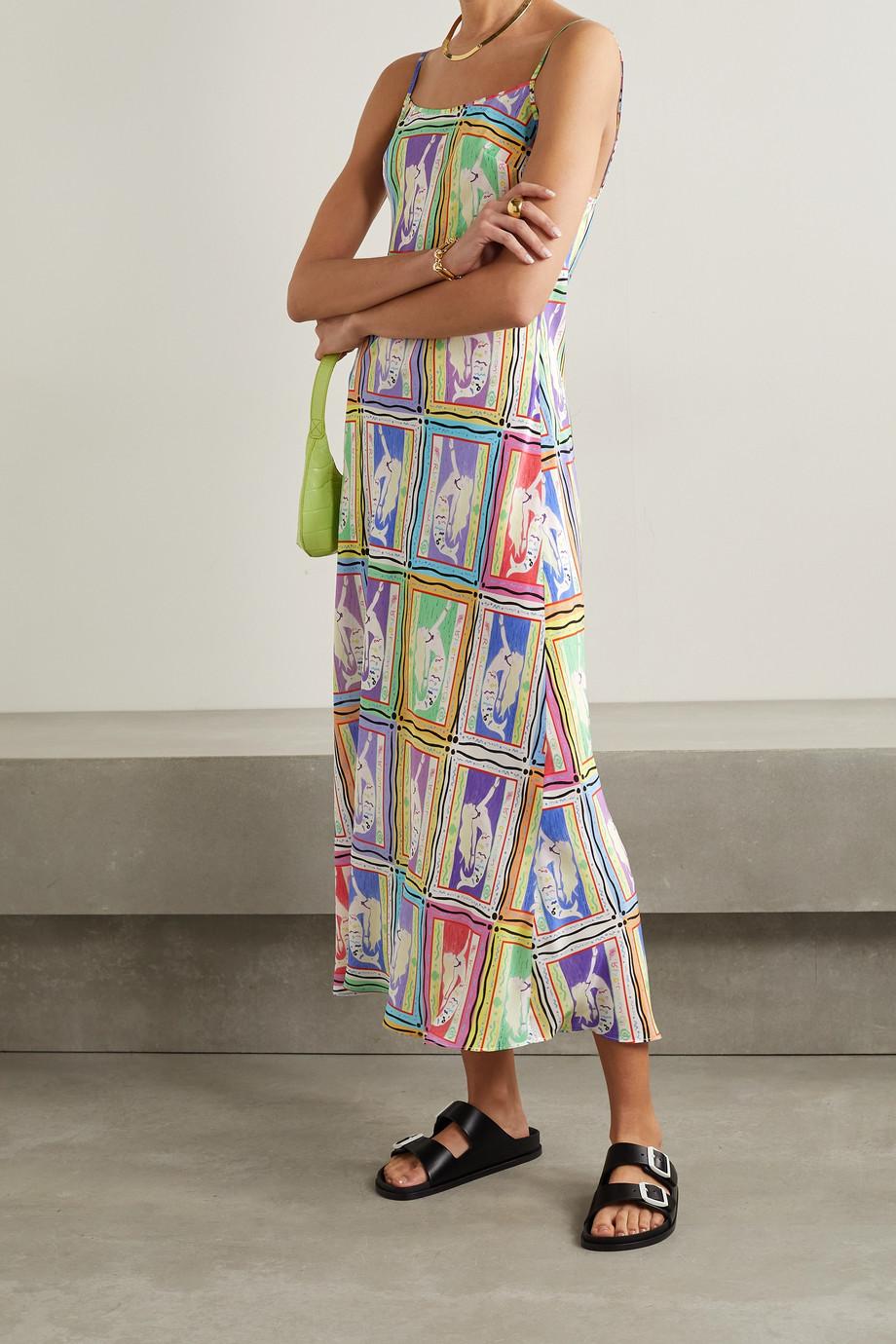 RIXO Holly printed silk-crepe midi dress