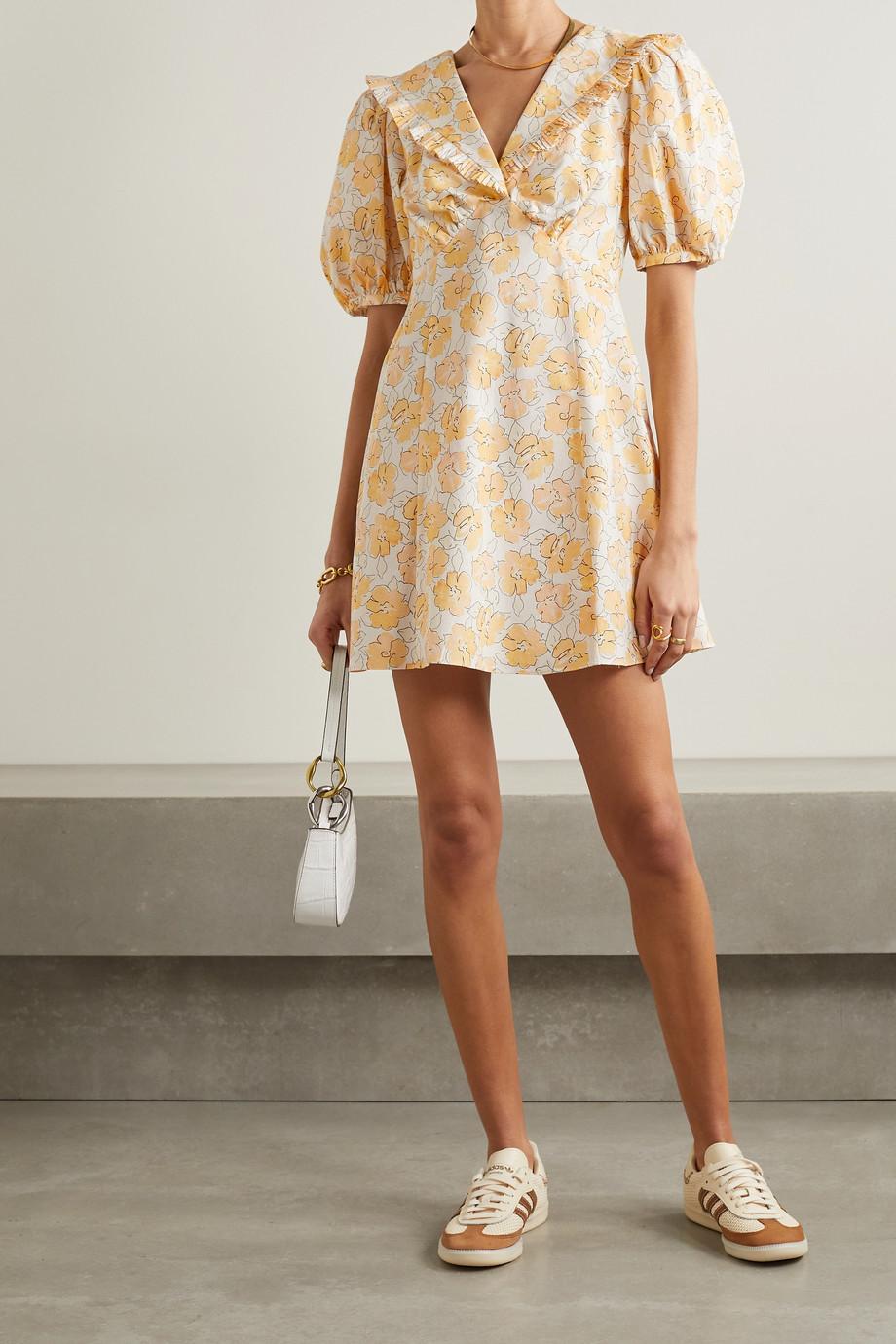 RIXO Kayla Minikleid aus Baumwolle mit Blumenprint und Rüschen