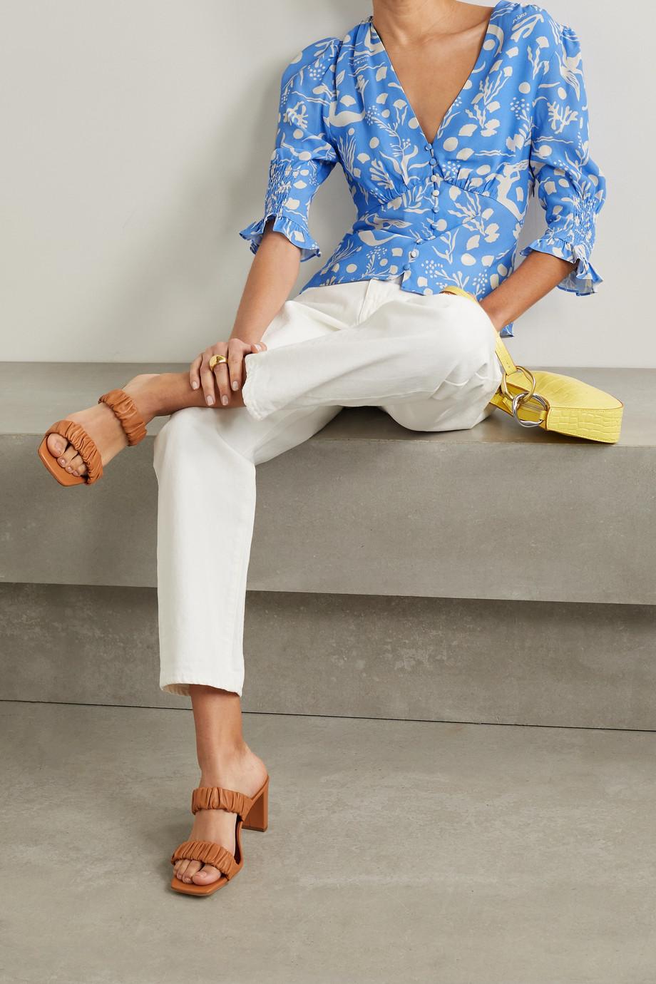 RIXO Payton printed crepe blouse