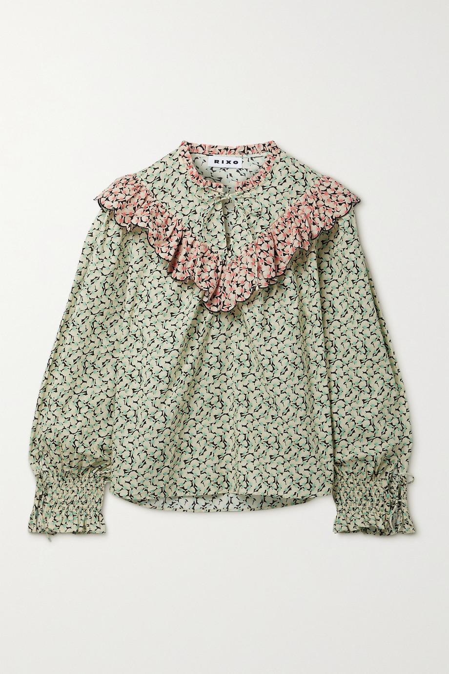 RIXO Danica ruffled printed cotton blouse