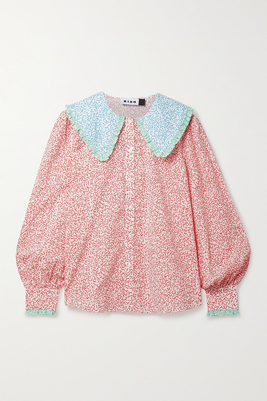 RIXO Misha ruffled floral-print cotton blouse