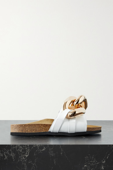Jw Anderson Leathers CHAIN-EMBELLISHED LEATHER SLIDES