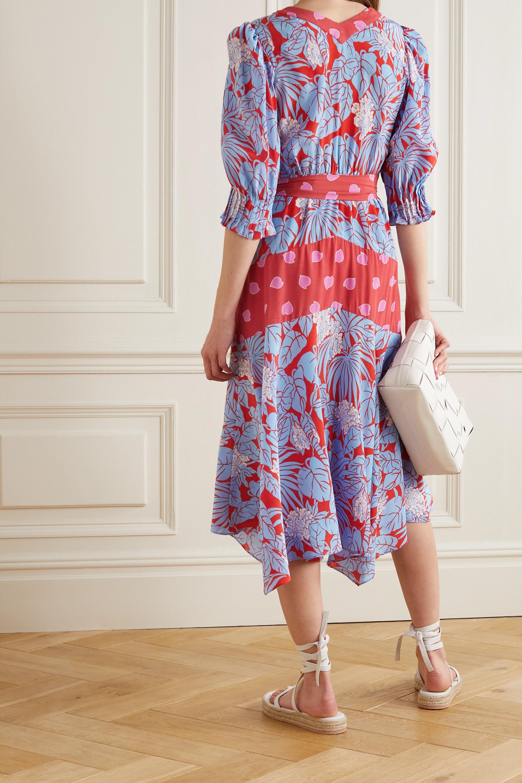 Diane von Furstenberg Robe midi en crêpe de Chine de soie imprimé à ceinture Gaines