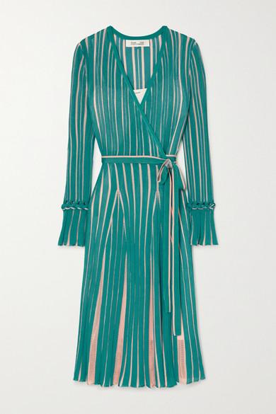 Diane Von Furstenberg EDELINE STRIPED KNITTED WRAP DRESS