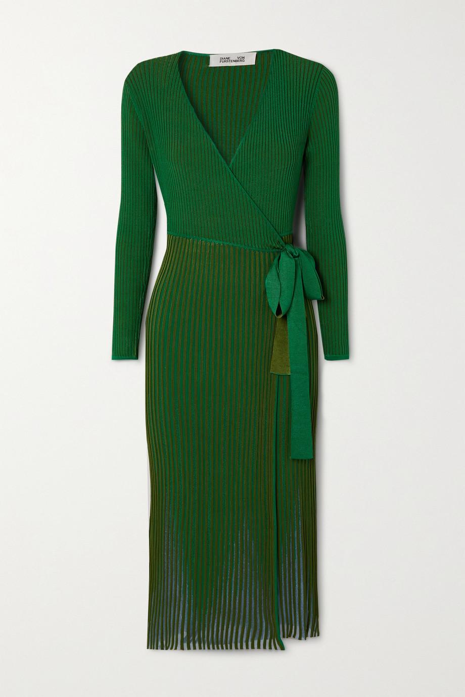 Diane von Furstenberg Dara ribbed-knit midi wrap dress