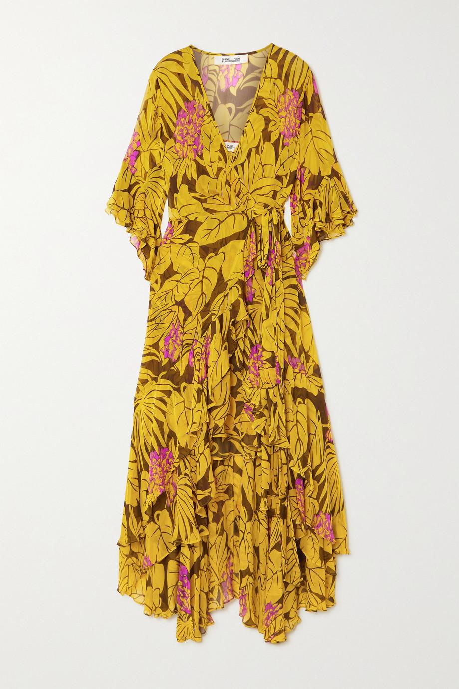 Diane von Furstenberg Robe portefeuille en crépon à imprimé fleuri et à volants Jean