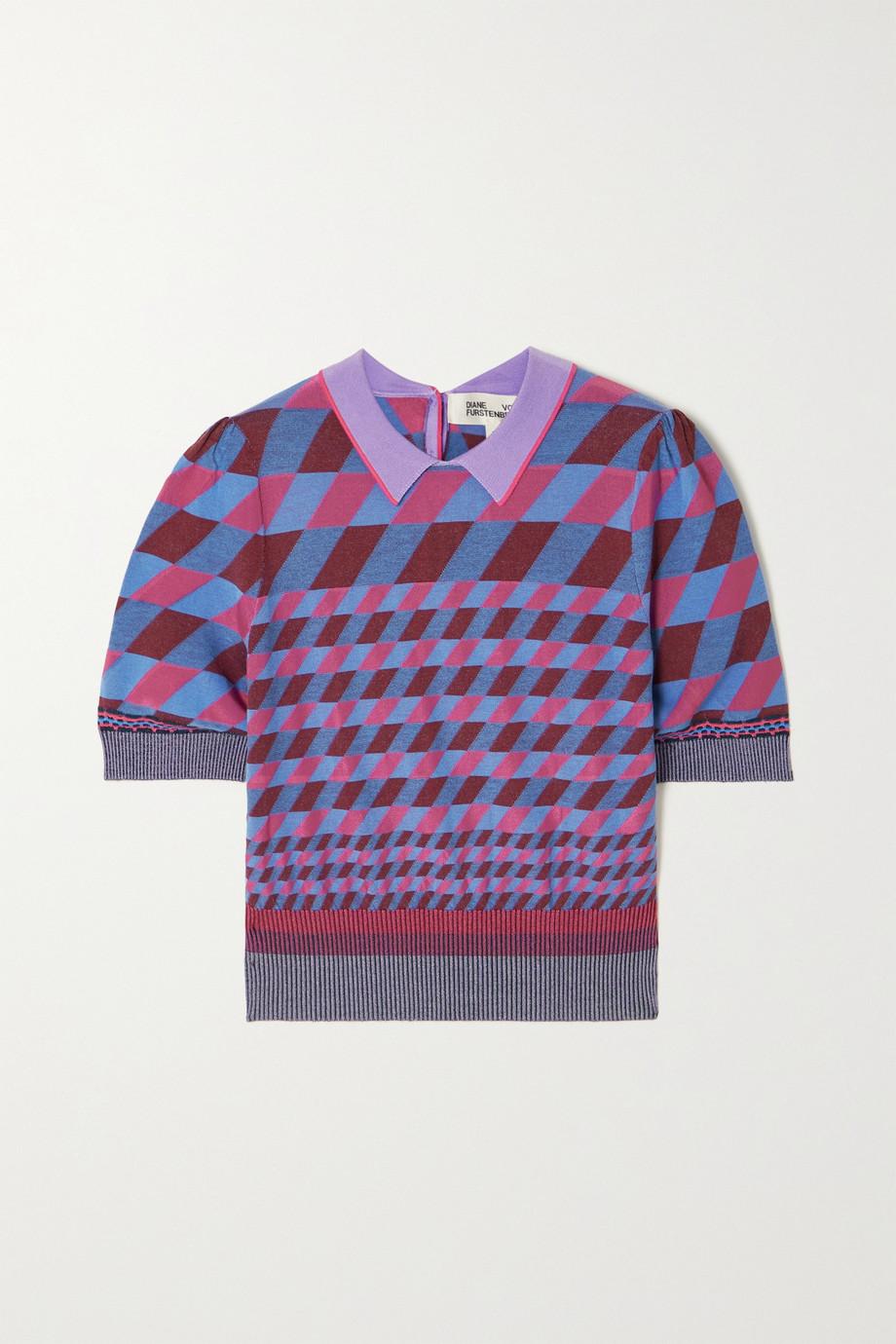 Diane von Furstenberg Jenny printed stretch-knit top