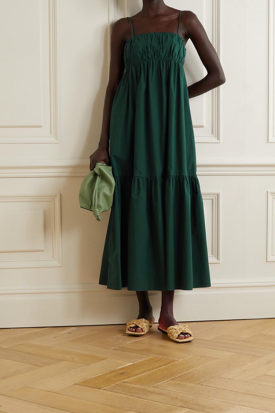 By Malene Birger Disemma gathered tiered cotton-poplin maxi dress
