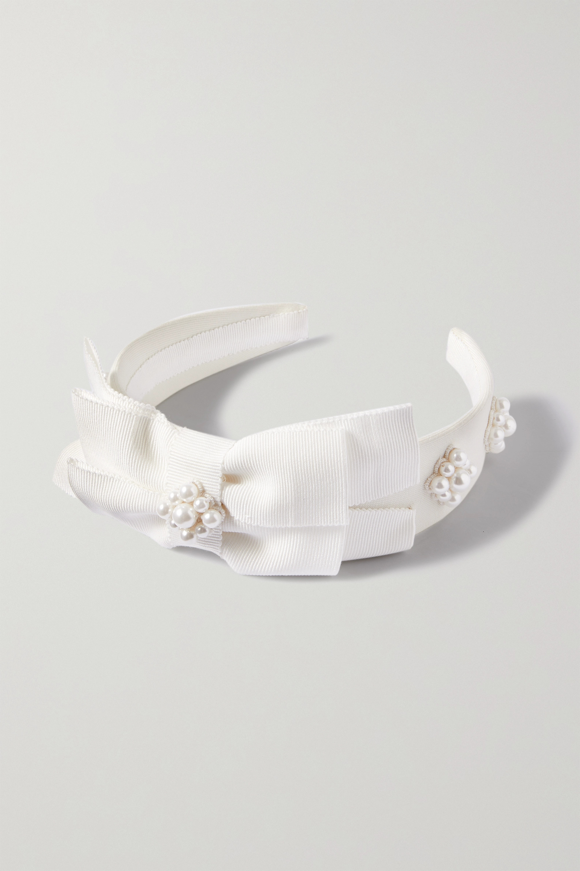 Erdem Bridal faux pearl-embellished grosgrain headband