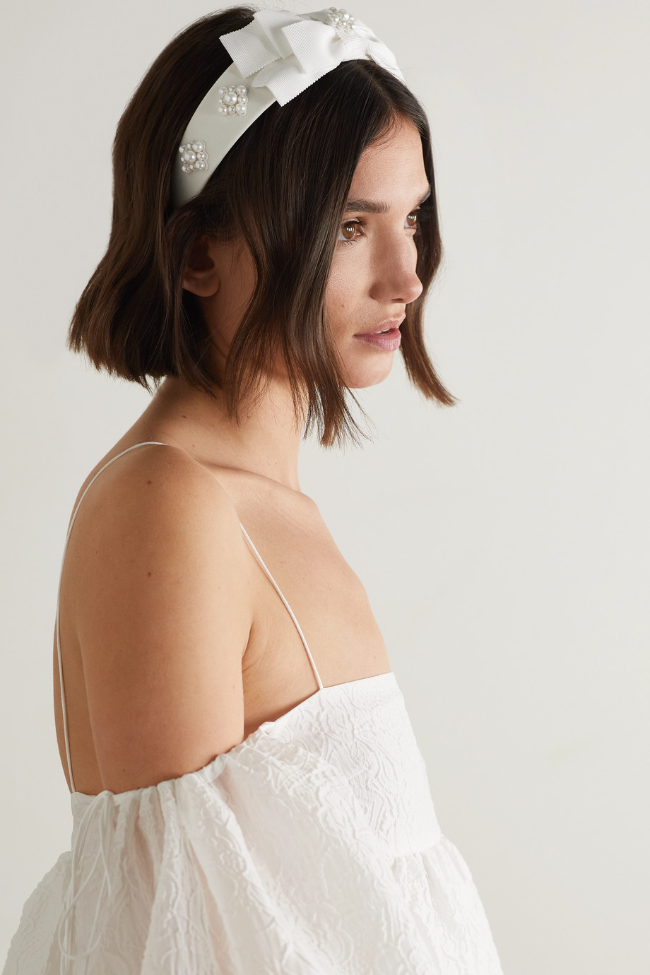Erdem Bridal Haarreif aus Ripsband mit Kunstperlen
