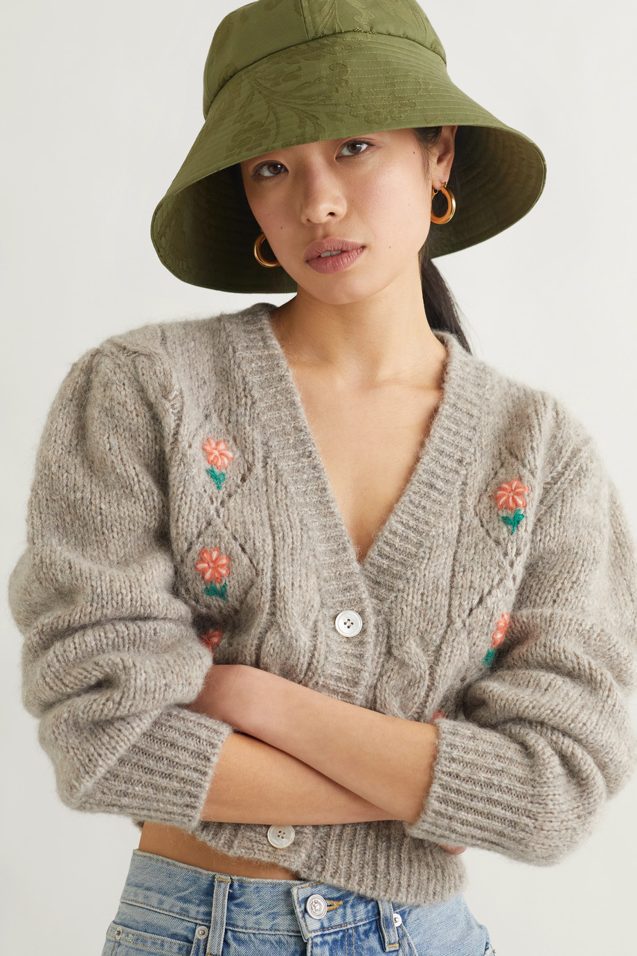 Erdem Cotton-blend floral-jacquard bucket hat and pouch set