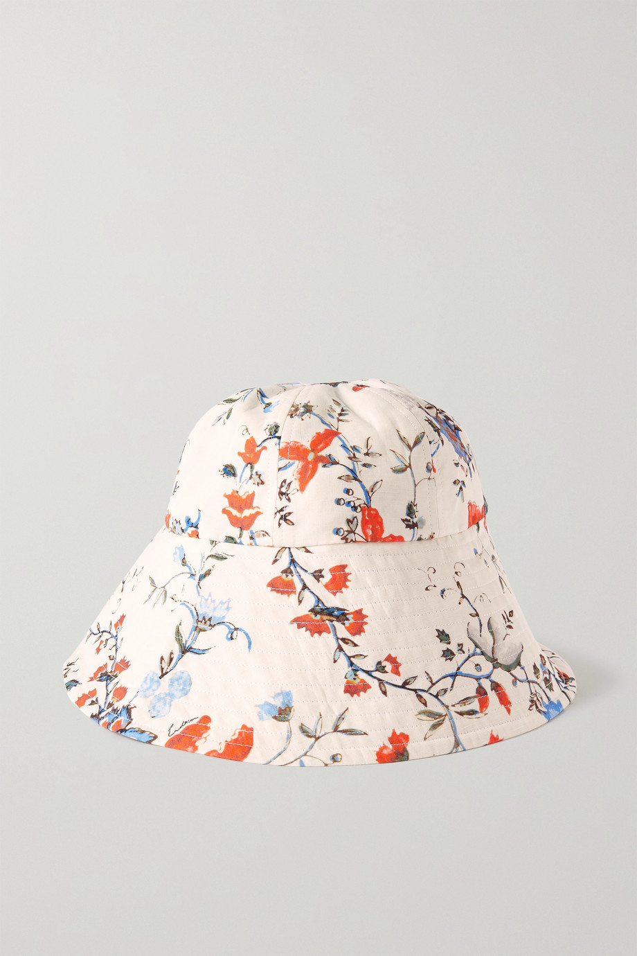Erdem Floral-print linen bucket hat and pouch set