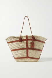 Altuzarra Watermill large leather-trimmed raffia tote