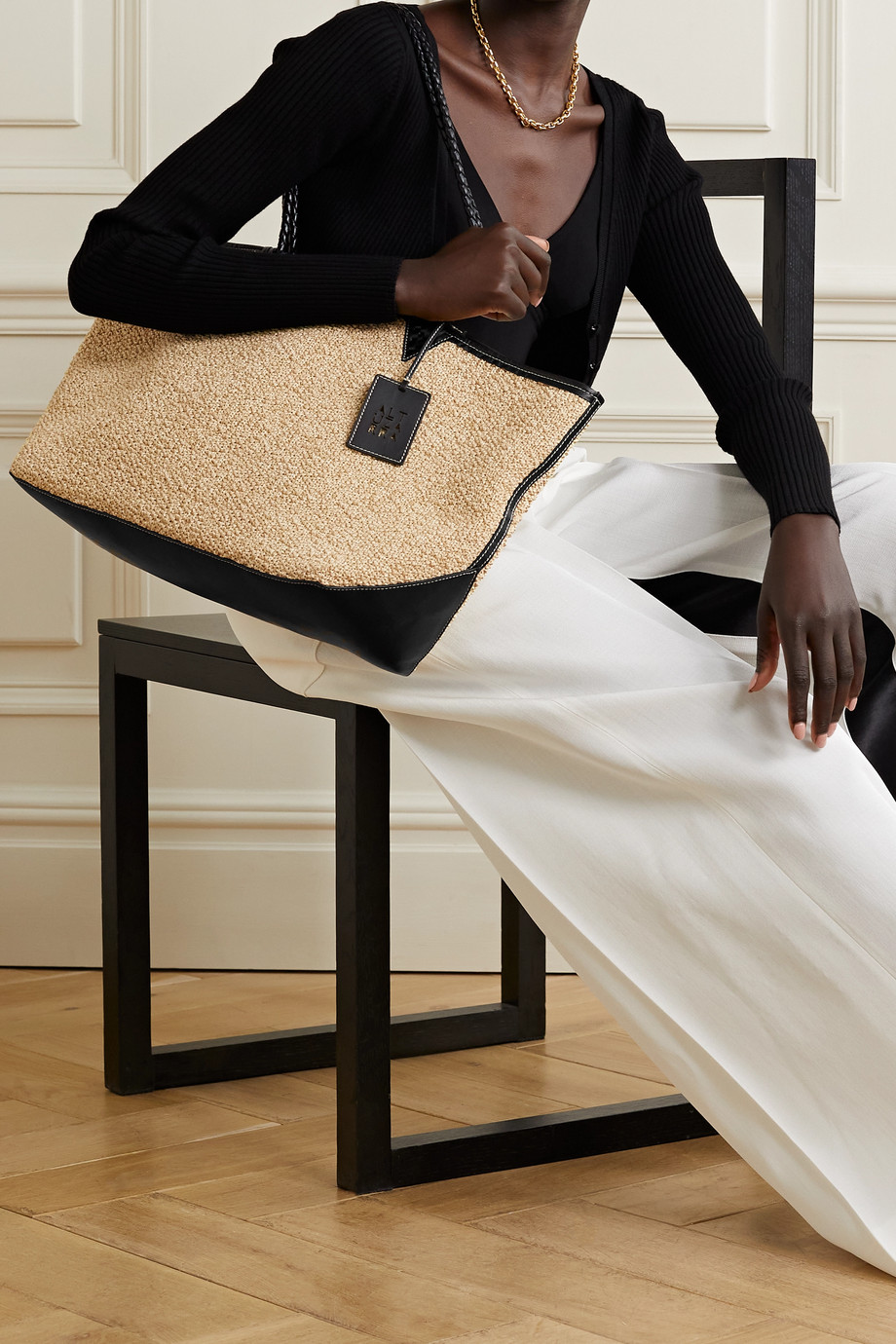 Altuzarra Espadrille large reversible leather-trimmed suede and raffia tote