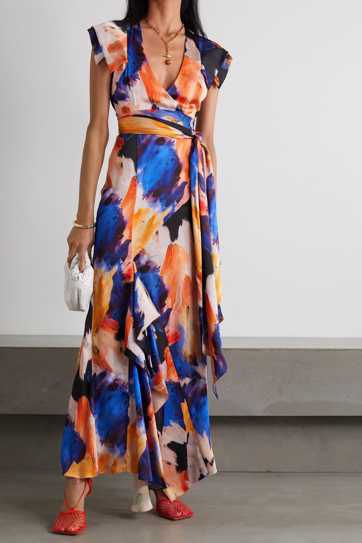 Galvan Euphoria asymmetric ruffled printed satin wrap maxi dress