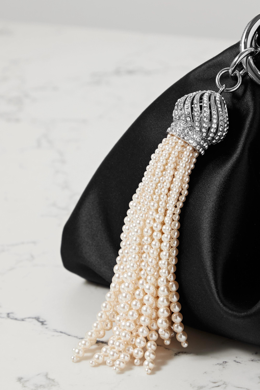 Jimmy Choo Callie tassel-detailed chain-embellished satin clutch