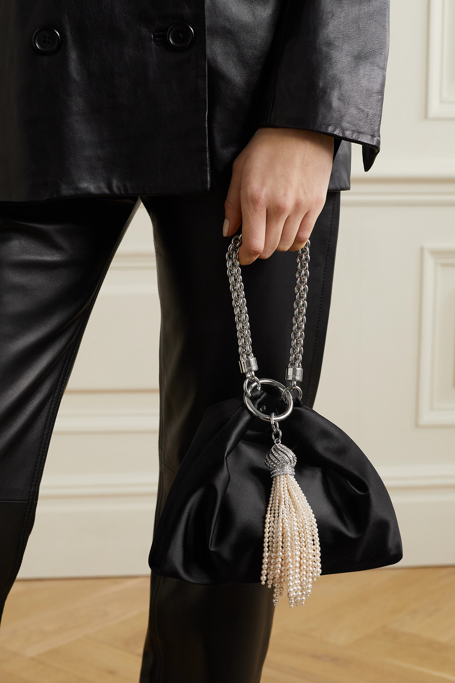 Jimmy Choo Callie tassel-detailed chain-embellished satin clutch