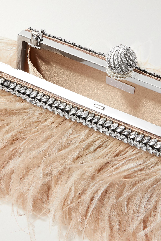 Jimmy Choo Celeste crystal-embellished feather-trimmed satin clutch