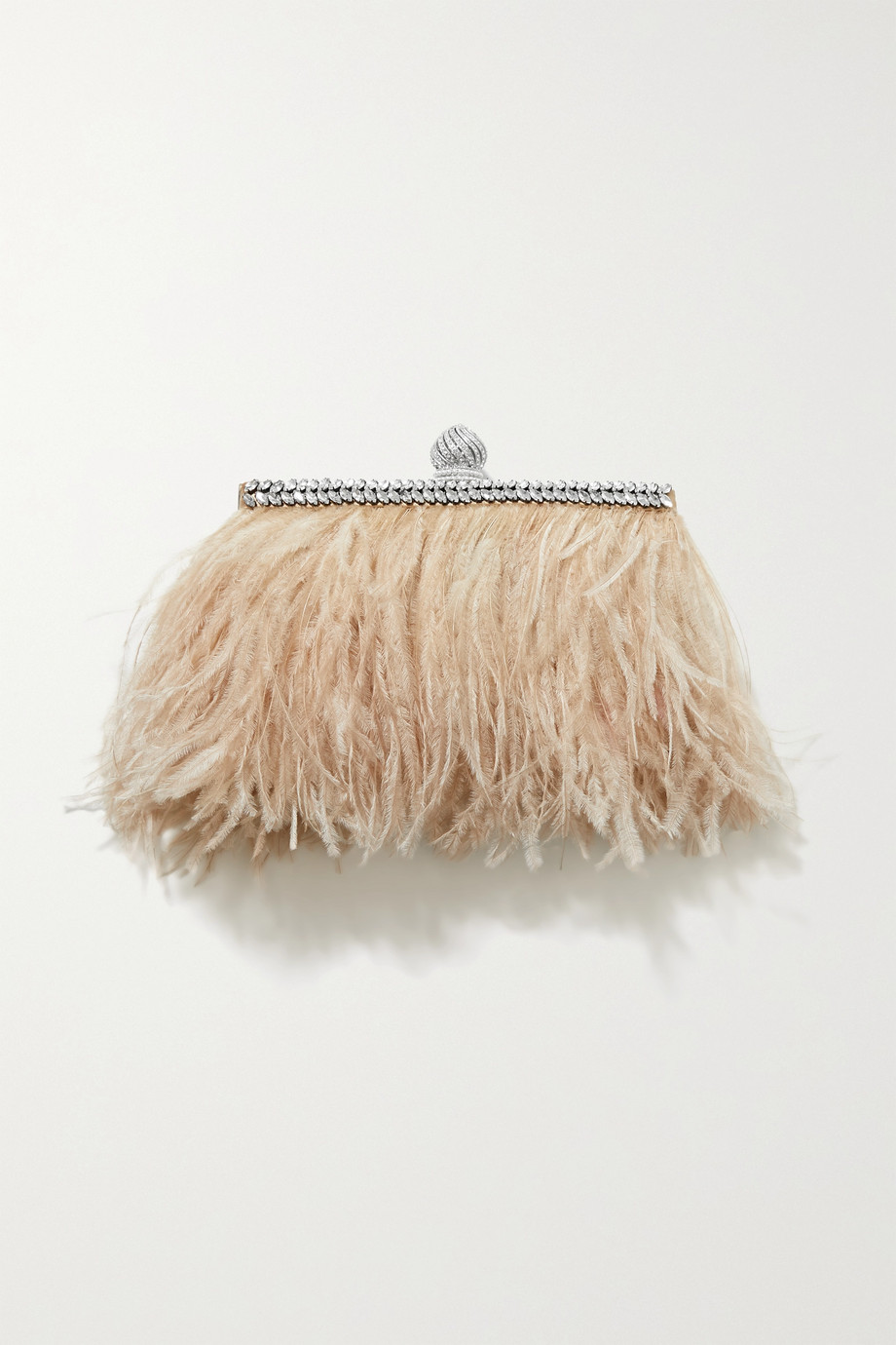 Jimmy Choo Celeste crystal-embellished feather-trimmed satin clutch