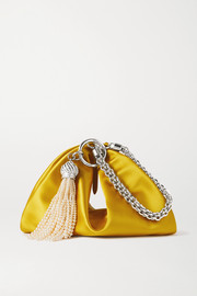 Jimmy Choo Callie tasseled satin clutch