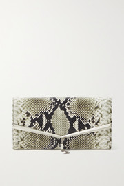 Jimmy Choo Elish snake-effect leather clutch