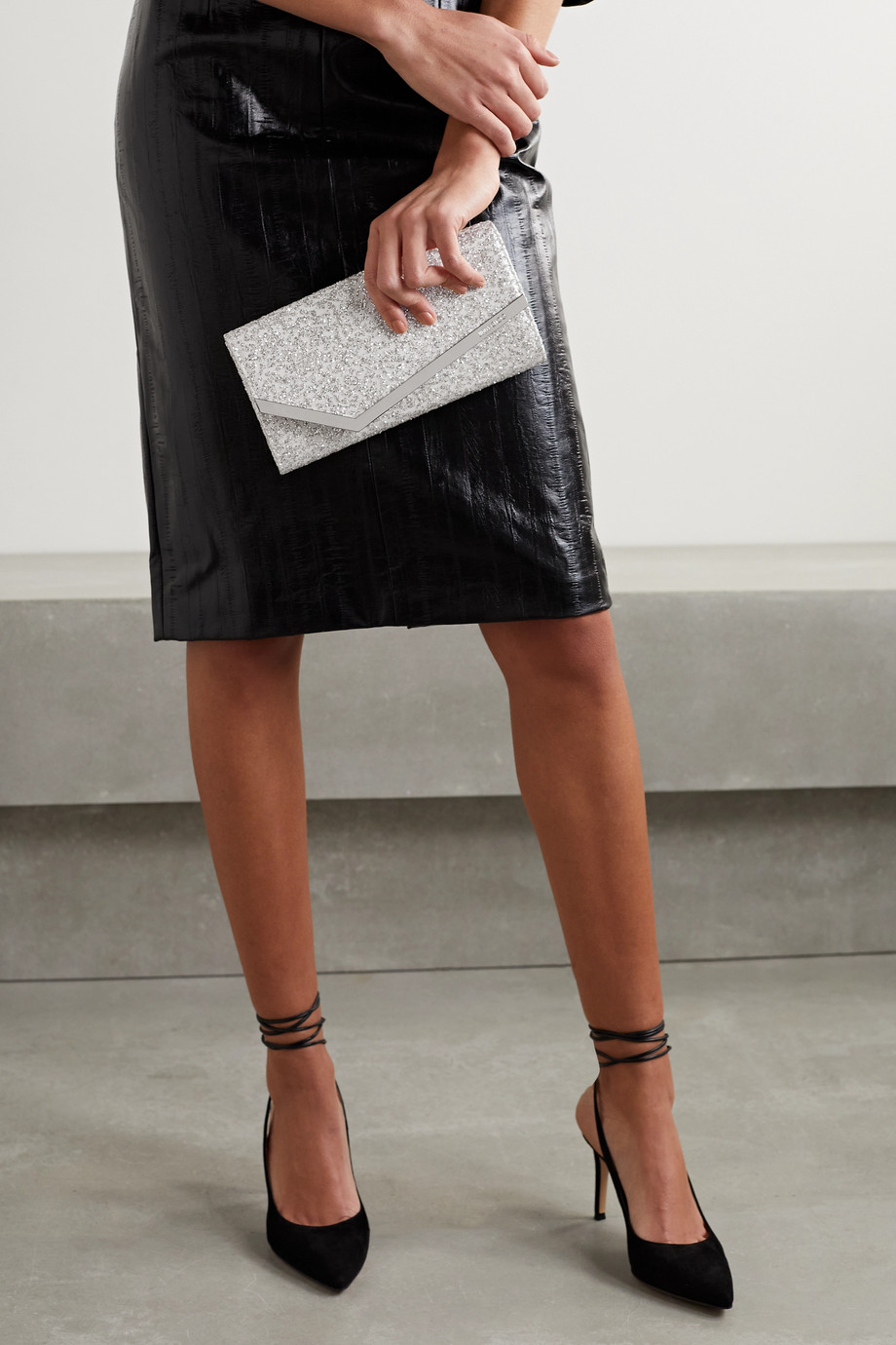 Jimmy Choo Emmie glittered tulle and leather clutch