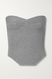 Fleur du Mal Strapless cropped ribbed-knit top