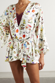 Fleur du Mal Belted printed silk-blend satin robe