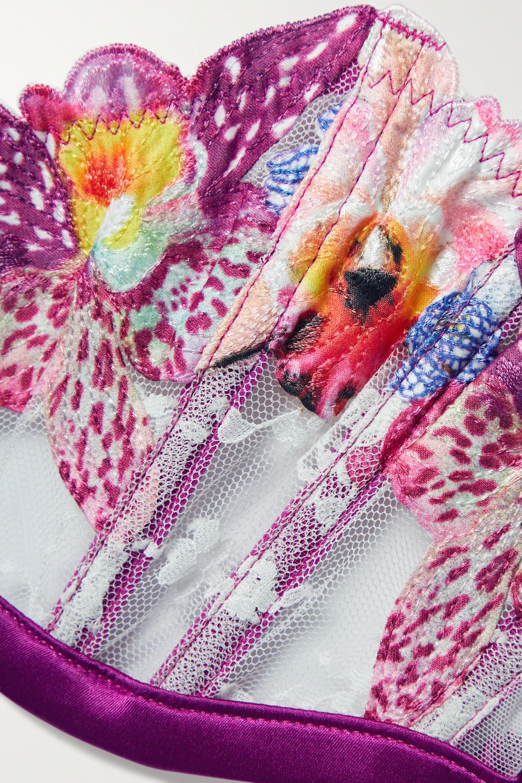 Fleur du Mal Orchid BH aus Spitze mit Satinbesätzen und Applikationen