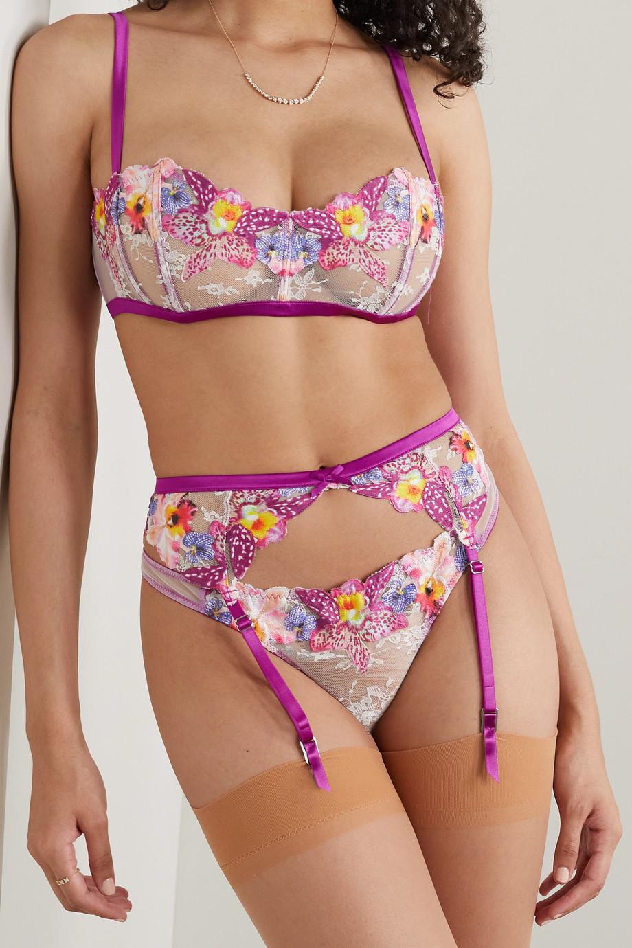 Fleur du Mal Orchid satin-trimmed appliquéd lace suspender belt