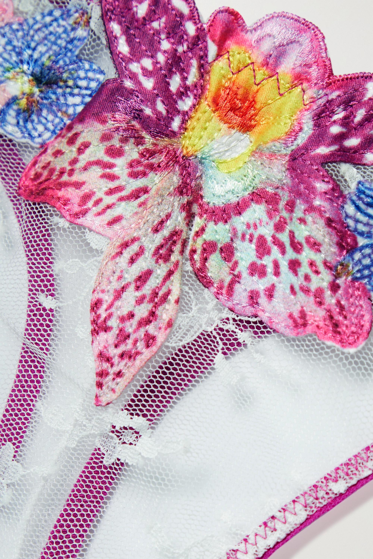 Fleur du Mal Orchid String aus Spitze mit Satinbesätzen und Applikationen