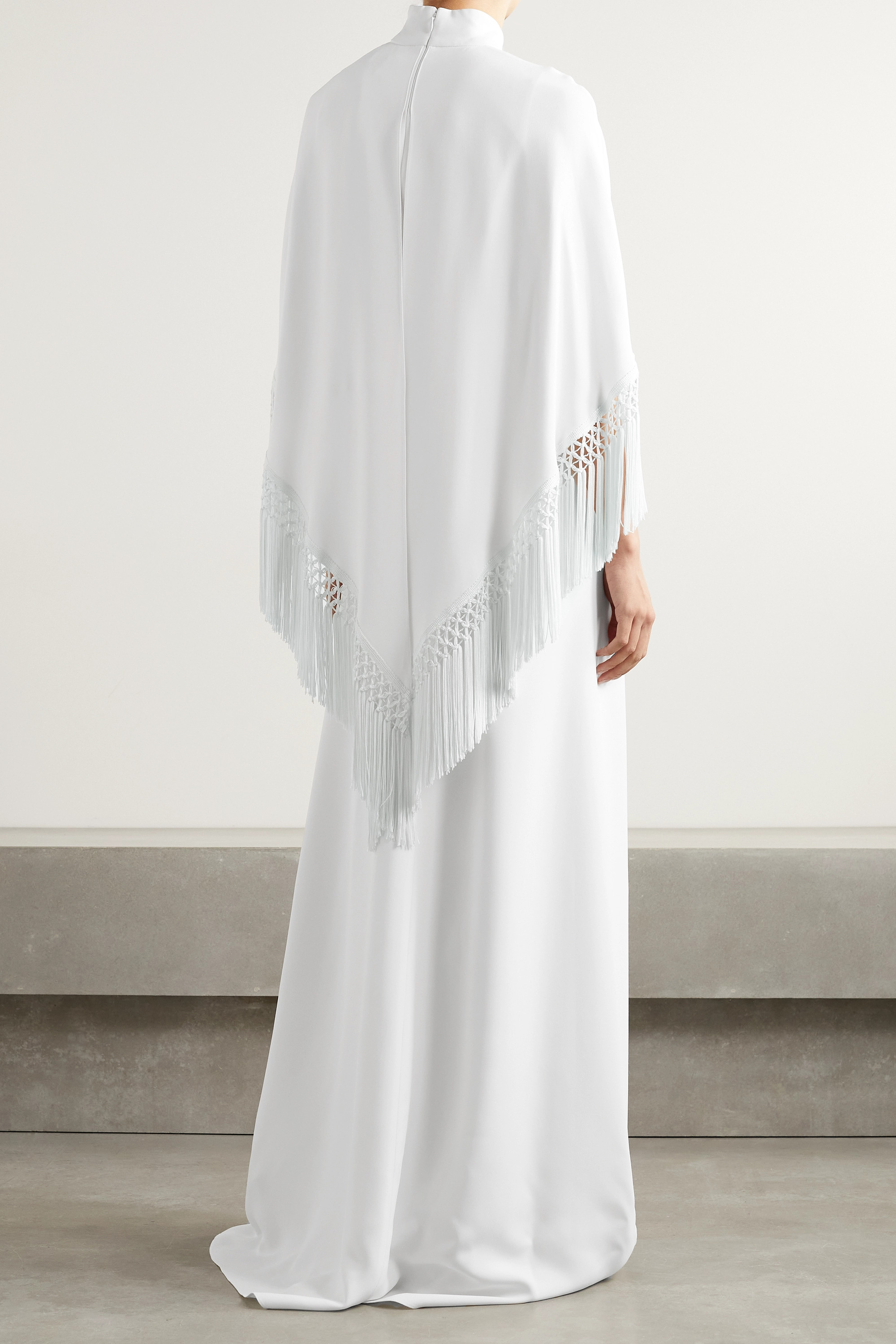 Andrew Gn Fringed layered crepe gown