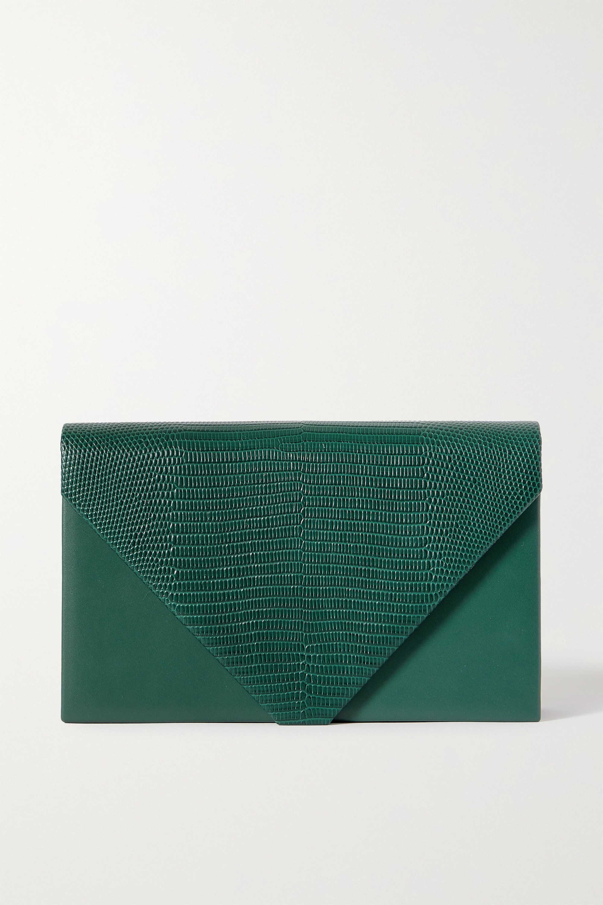 Hunting Season - Envelope smooth and lizard-effect leather clutch