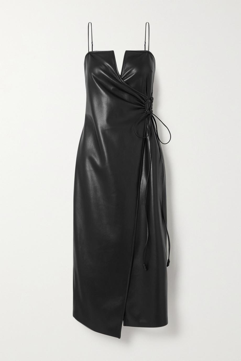 Nanushka Anubi Midi-Wickelkleid aus veganem Leder