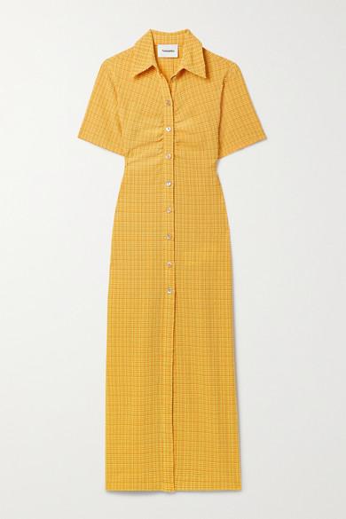 Nanushka Midi dresses + NET SUSTAIN SABRI RUCHED CHECKED SEERSUCKER SHIRT DRESS