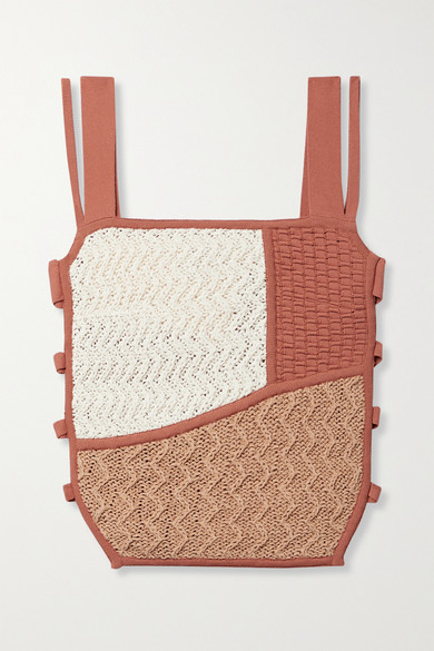 Nanushka Ona Cutout Stretch-knit And Crocheted Cotton-blend Top In Beige