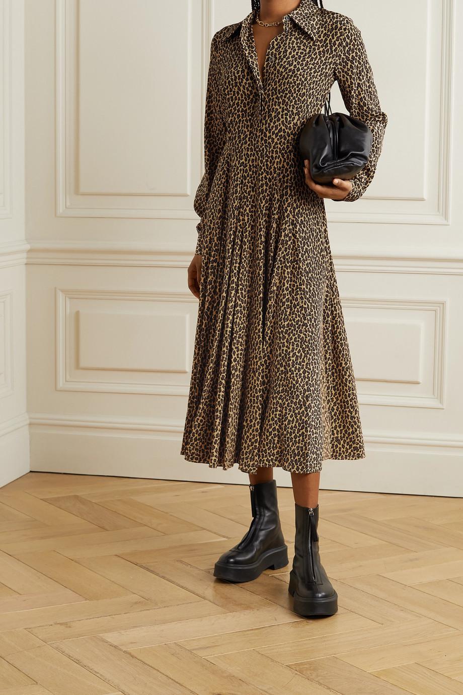 Michael Kors Collection Leopard-print silk crepe de chine shirt dress