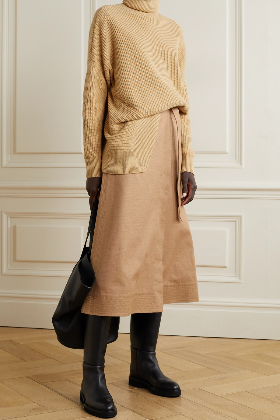 Michael Kors Collection Asymmetric ribbed cashmere turtleneck sweater