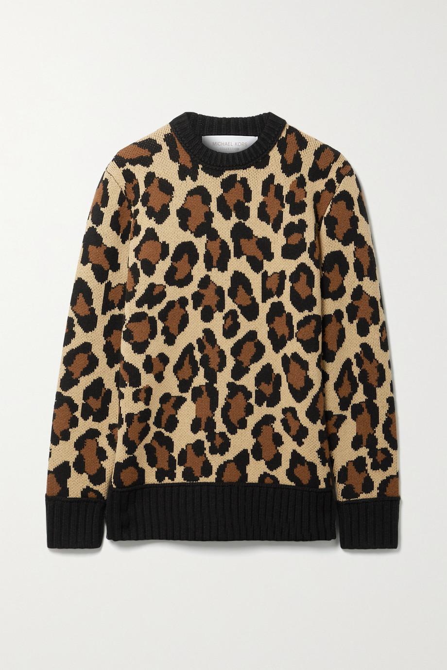 Michael Kors Collection Leopard-jacquard cashmere sweater