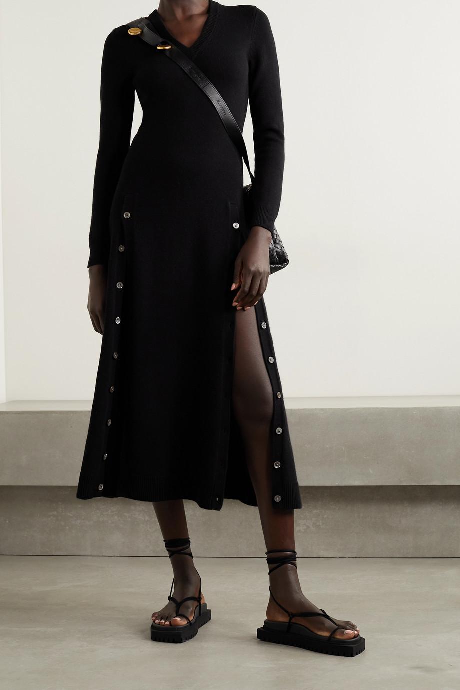 Michael Kors Collection Button-detailed cashmere-blend midi dress