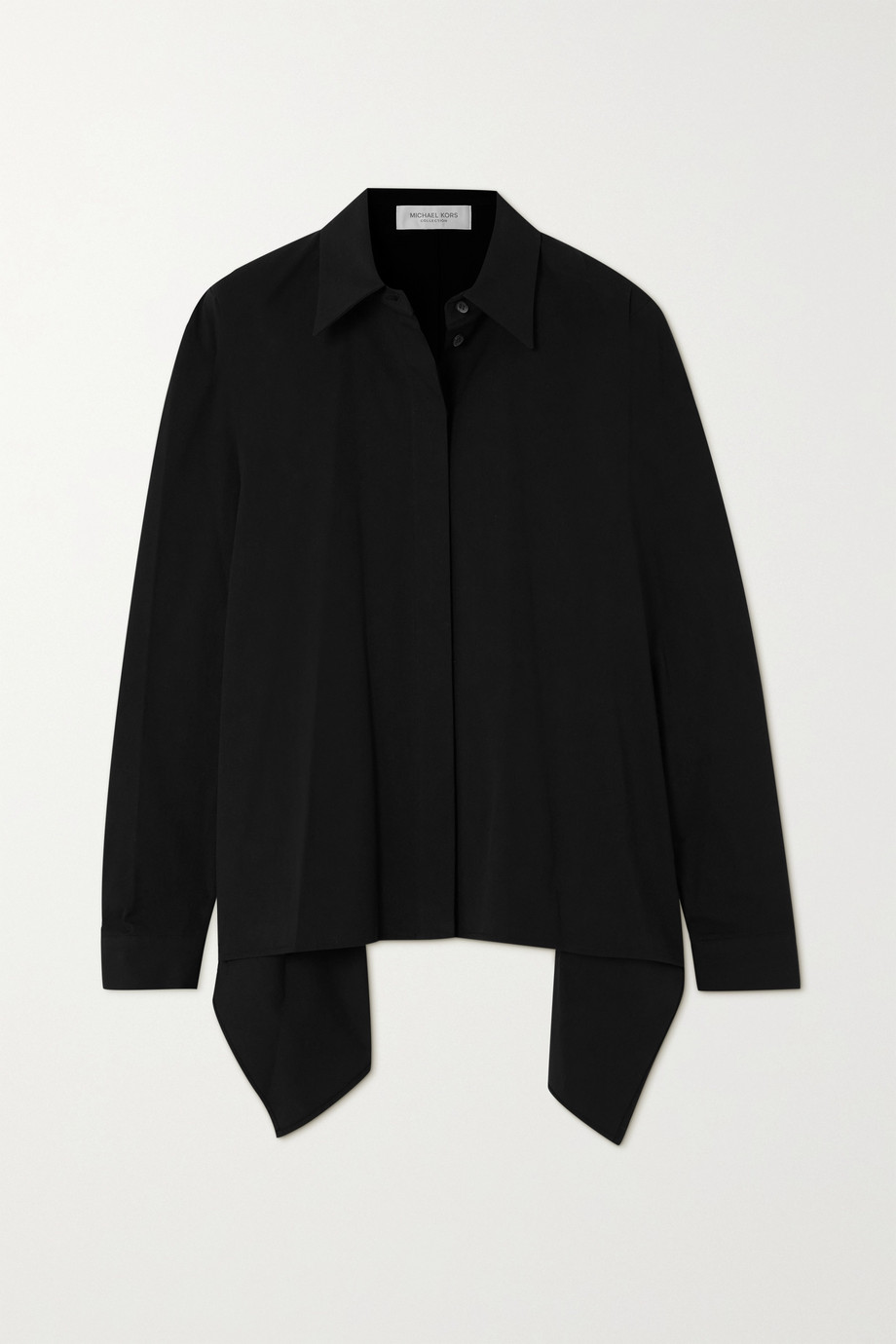 Michael Kors Collection Draped cotton-blend poplin shirt