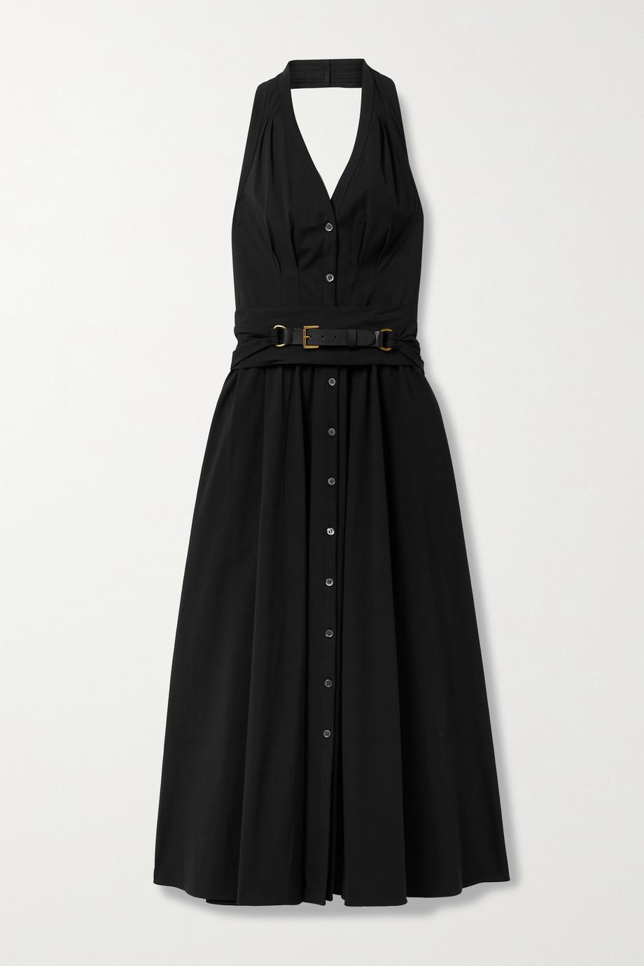 Michael Kors Collection Belted cotton-blend poplin halterneck midi dress