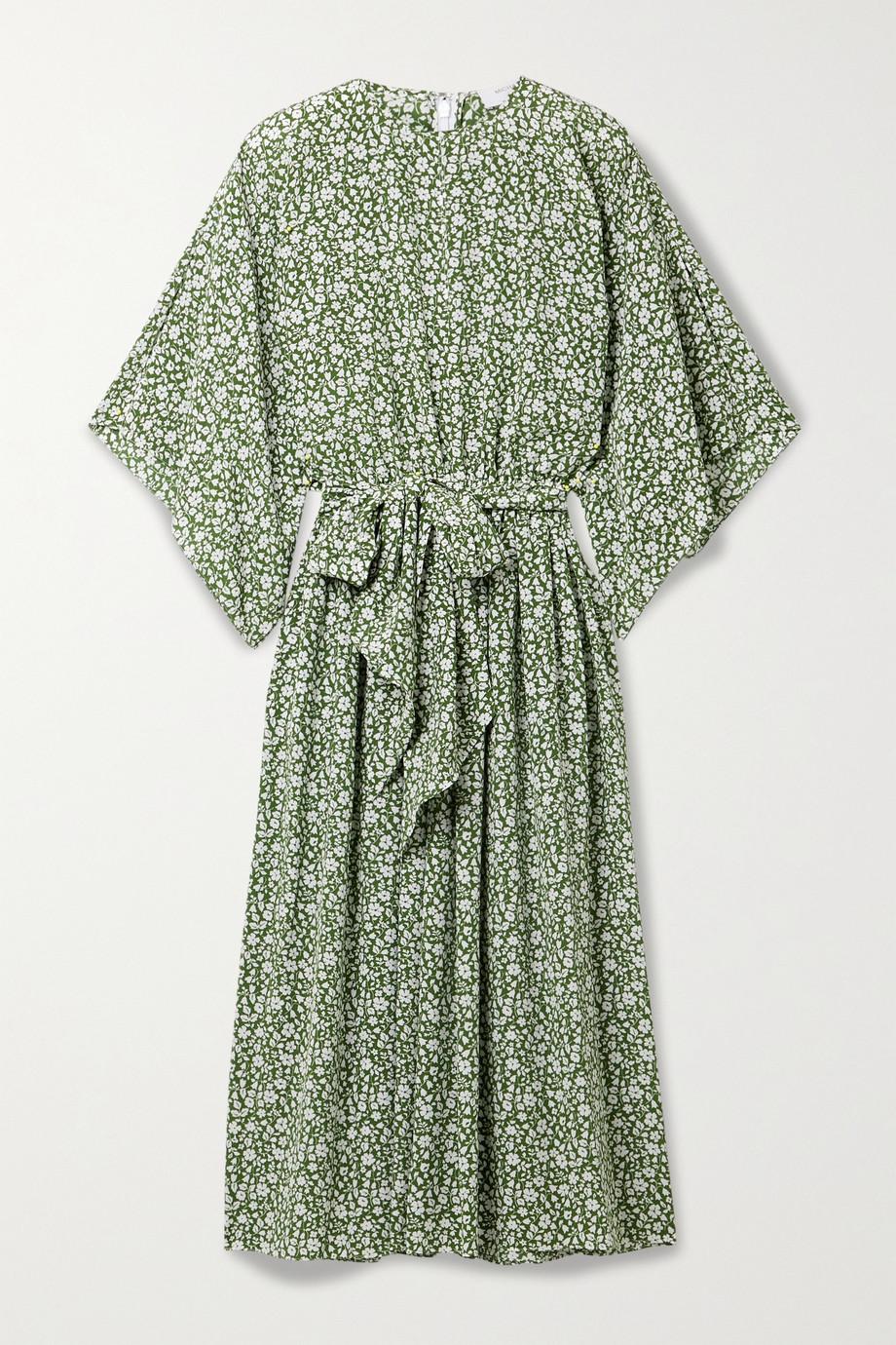 Michael Kors Collection Belted floral-print silk crepe de chine midi dress