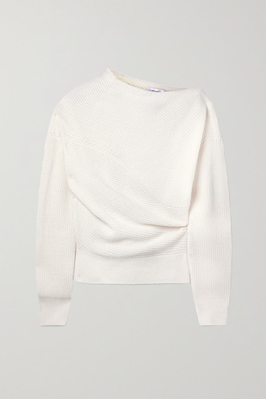 Michael Kors Collection Pull asymétrique en cachemire et lin mélangés côtelés