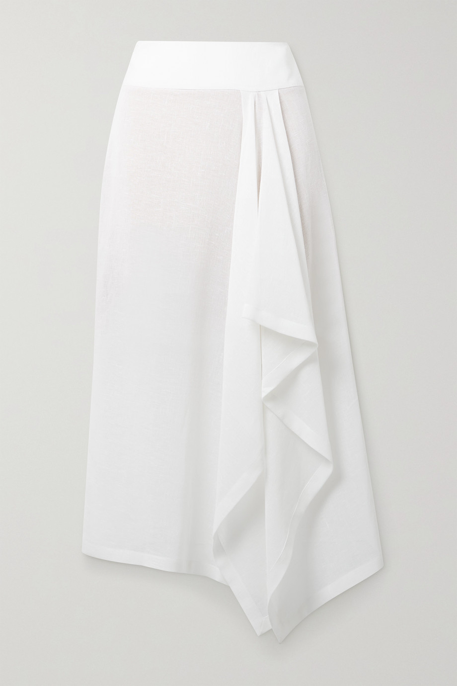 Michael Kors Collection Asymmetric draped linen-gauze midi skirt