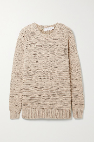 Michael Kors Open-knit Cotton Sweater In Beige
