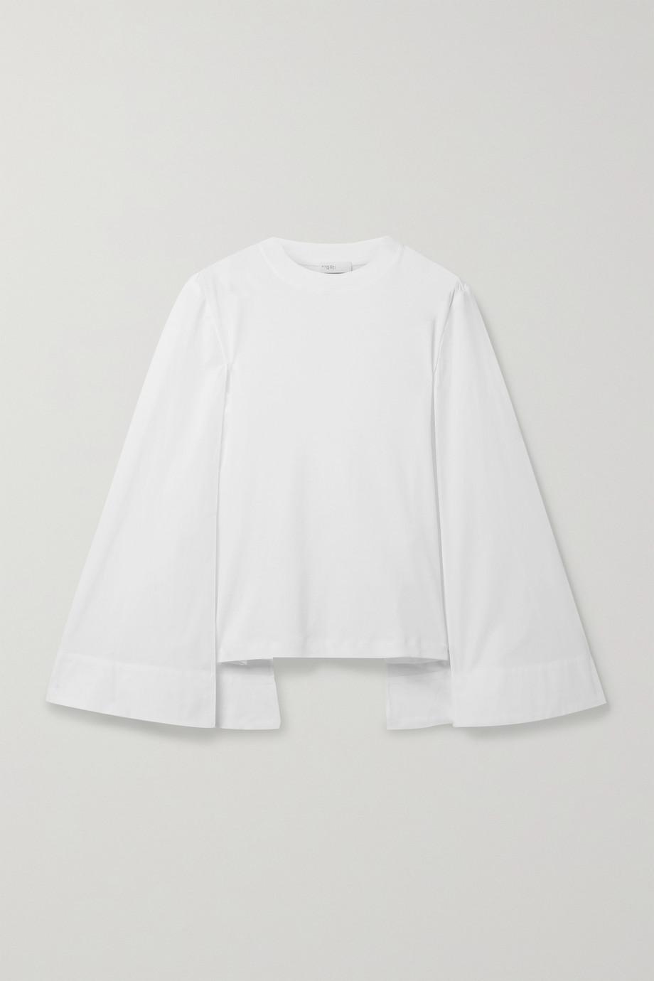 Rosetta Getty Cape-effect cotton-jersey and poplin top